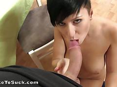 Nicoletta shows us how to gag for huge cock