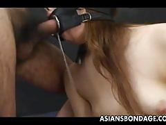 Japanese cutie gets her mouth bound and fucked