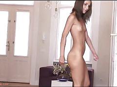 Hot brunette alexis brill masturbates on the floor
