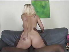 Mandy sweet sucks and rides a big black cock