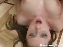Hot brunette in stockings gets her ass blasted