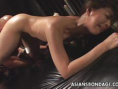 Sexy japanese belle gets vibrated and fucked