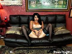 Sexy latina babe laila rios hot solo in pawn shop.