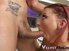Hot redhead misty magenta gives great head