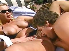 Busty blonde momma fucked hard by the pool