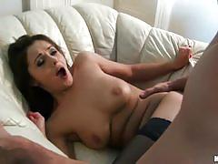 Brunette in stockings gets banged very hard