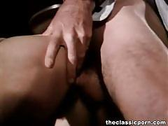 Hairy vintage brunette gets fucked by two dudes