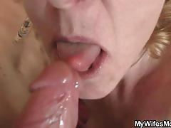 Mature blonde slut enjoys a young stud's cock