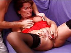 Lewd brunette mom hard ass drilling