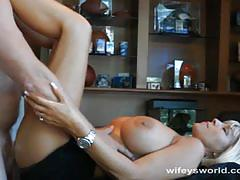 Busty blonde wife serves throbbing dick