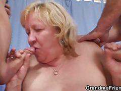 Fat granny serves two young cocks