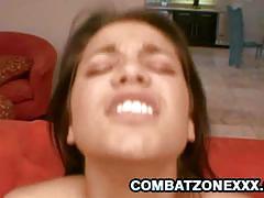 Latina busty slut gets drilled by big black cock.