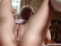 Sexy british blonde pussy play in the kitchen