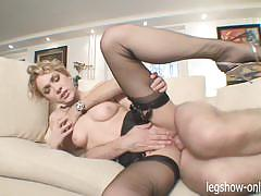 Beauty lily labeau gobbles down this stiff shaft