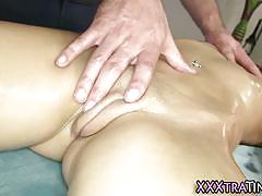 Petite blonde gets messy facial after fuck massage