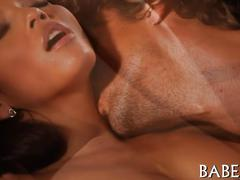 Exotic chick gets body licked segment