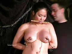 Busty asian bdsm and needle tortures of tigerr juggs in hard