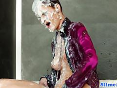Slime wave: kelly sun getting bukkake at gloryhole