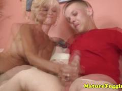 Tugging granny gets some cream from a midget