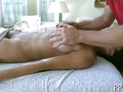 Super tight bitch during her steamy massage gets fucked