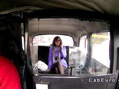 Babe gives blowjob in fake taxi in public