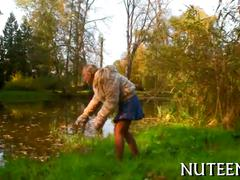 Blonde teen in the outdoors getting rowdy