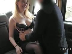 Natural busty blonde in fake taxi banged