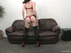 Alluring brunette whore enjoys solo satisfaction