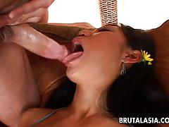 Hard core fucking after deep throat