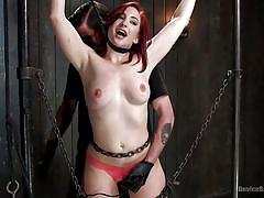 bdsm, redhead, vibrator, chains, device bondage, weights, restraints, babe, device bondage, kink, sophia locke