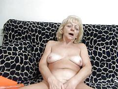 blonde, granny, solo, dildo, masturbating, couch, pussy fingering, traffic cone, old nanny, evan