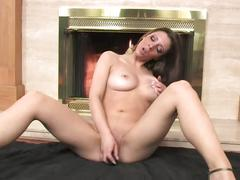 Masturbating in front of the fireplace