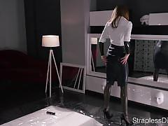 cumshot, wet, solo, oil, rubber, strapon, pantyhose, latex, pvc, high heels