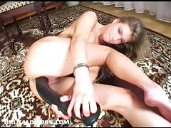 Hot blonde rams her huge toy deep in her moist pussy