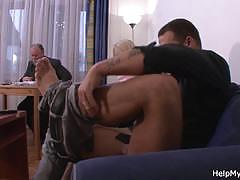 Old hubby called a guy to fuck his young wife