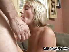Hot blonde gives a sexy blowjob
