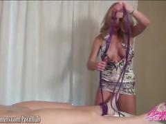 Blonde gives blonde a massage tieing her up using toys to make her orgasm