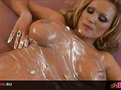 Busty czech milf covers her tits in whipped cream