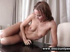 Very hot busty babe has a piss session