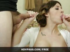 hardcore, hdvpass.com, busty, big tits, brunette, cumshot, facial, mmf, orgasm, parody, pussy licking, swallow, threesome, throat fuck, hd