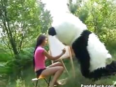 Cute girl has sex with panda