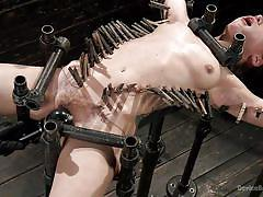 small tits, bdsm, babe, torture, dildo fuck, bondage device, clothespins, mouth gagged, metal bondage, device bondage, kink, the pope, gabriella paltrova