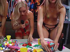 milf, blonde, tv show, playboy, reality, topless, natural tits, sex games, busty babes, morning show, playboy tv, dorothy grant, andrea lowell