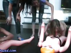 Lesbian teens ride dolls