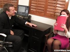 Cute young secretary fucks her boss in his office