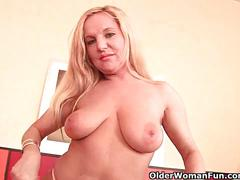 erotic, olderwomanfun.com, busty, milf, huge tits, blonde, cougar, masturbation, solo, fingering, orgasm, shaved snatch, dildo