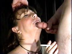 Facial and oral cumshot sampler from smoking females