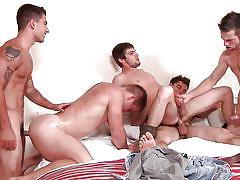 Group of horny gays having fun
