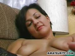 Amateur gf toys and gives head with cum on tits