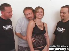 Cute ghetto blonde fucking 3 hard dicks